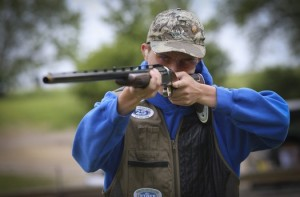 Senior Tom Koppe, who posted a perfect score at sections two weeks ago, joined the Hopkins trapshooting team when he was a seventh-grader.